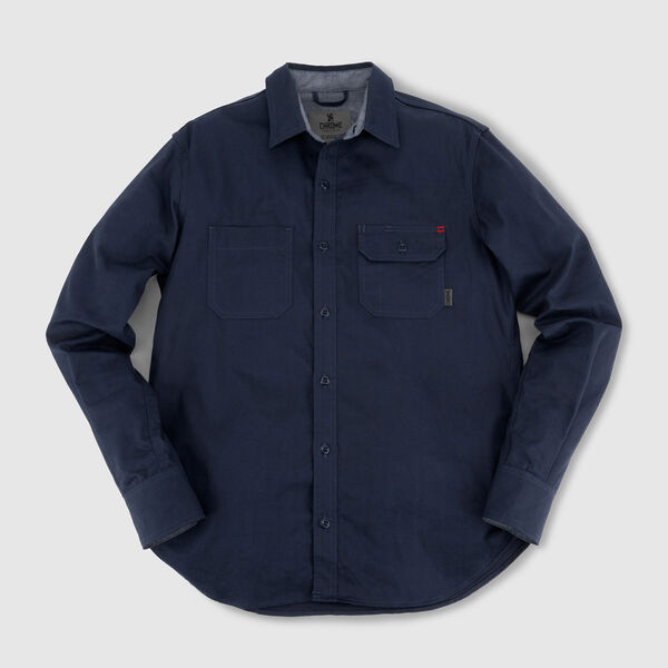 Woven Workshirt in Navy Herringbone - medium view.