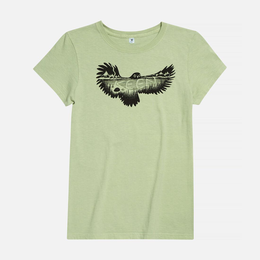 Women's KEEN Owl T-Shirt in Green Pea - large view.