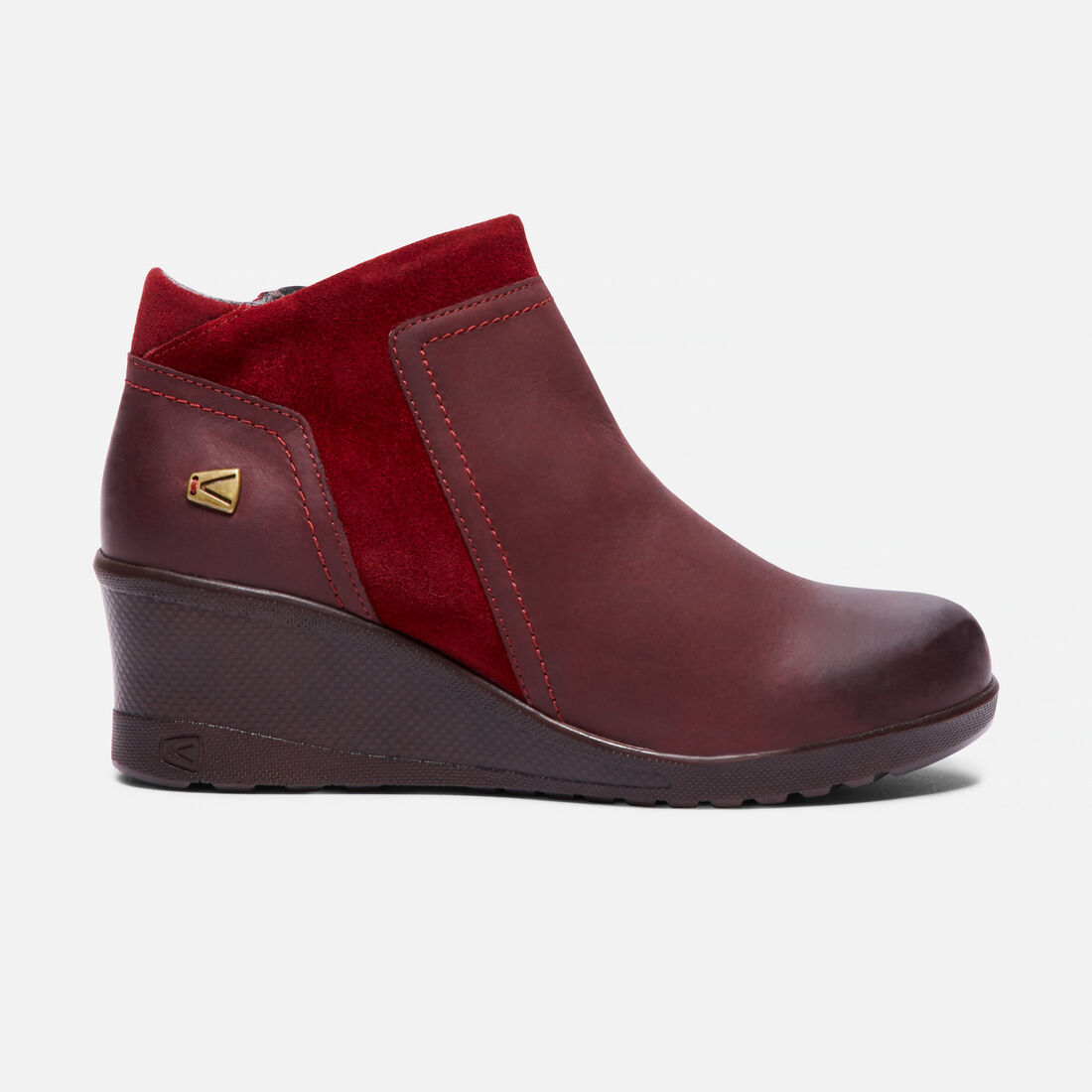 Women's KEEN Wedge Zip in Red Dahlia - large view.