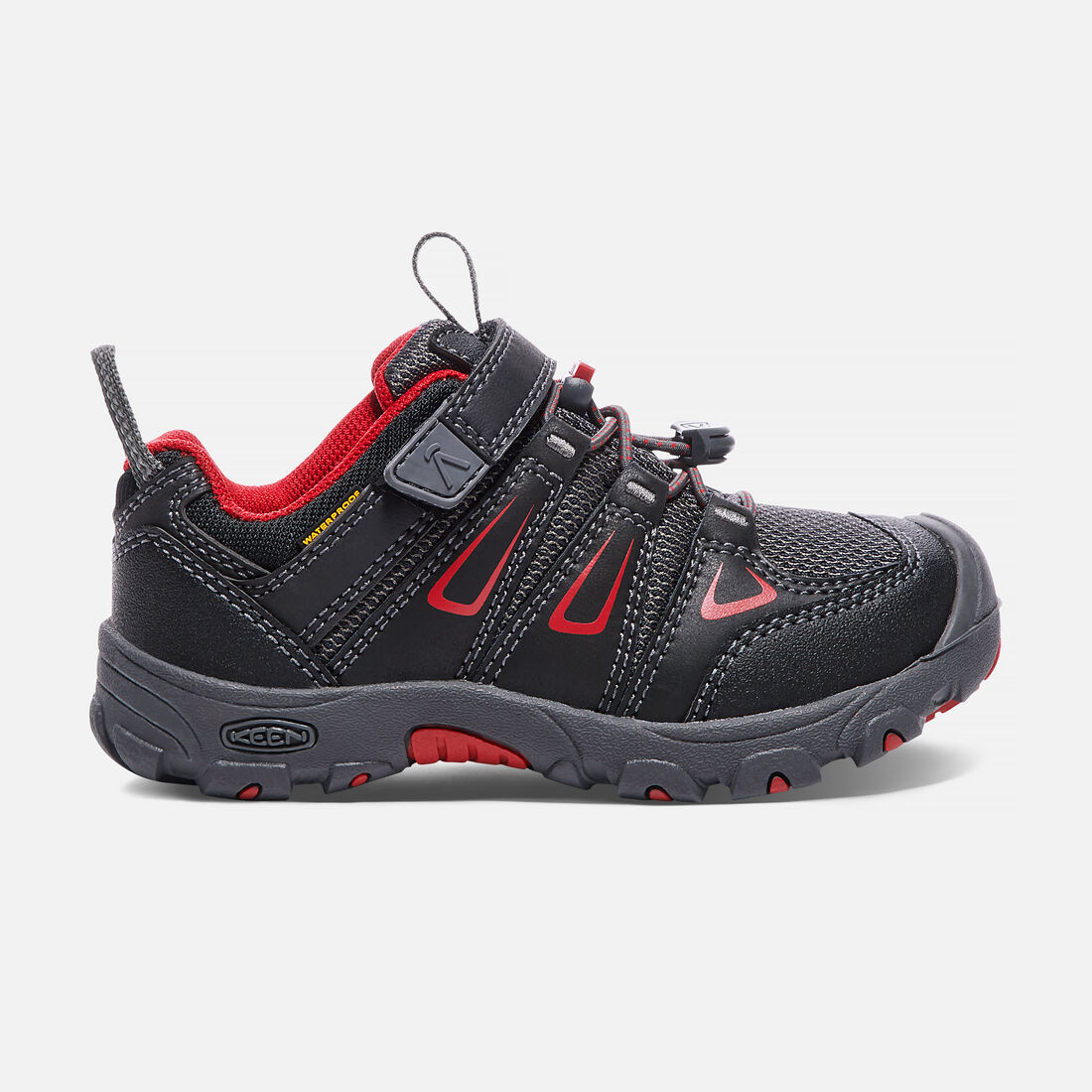 Little Kids' Oakridge Waterproof in Black/Tango Red - large view.