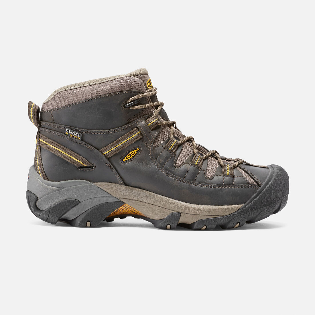 Men's Targhee II Mid Wide in Black Olive/Yellow - large view.