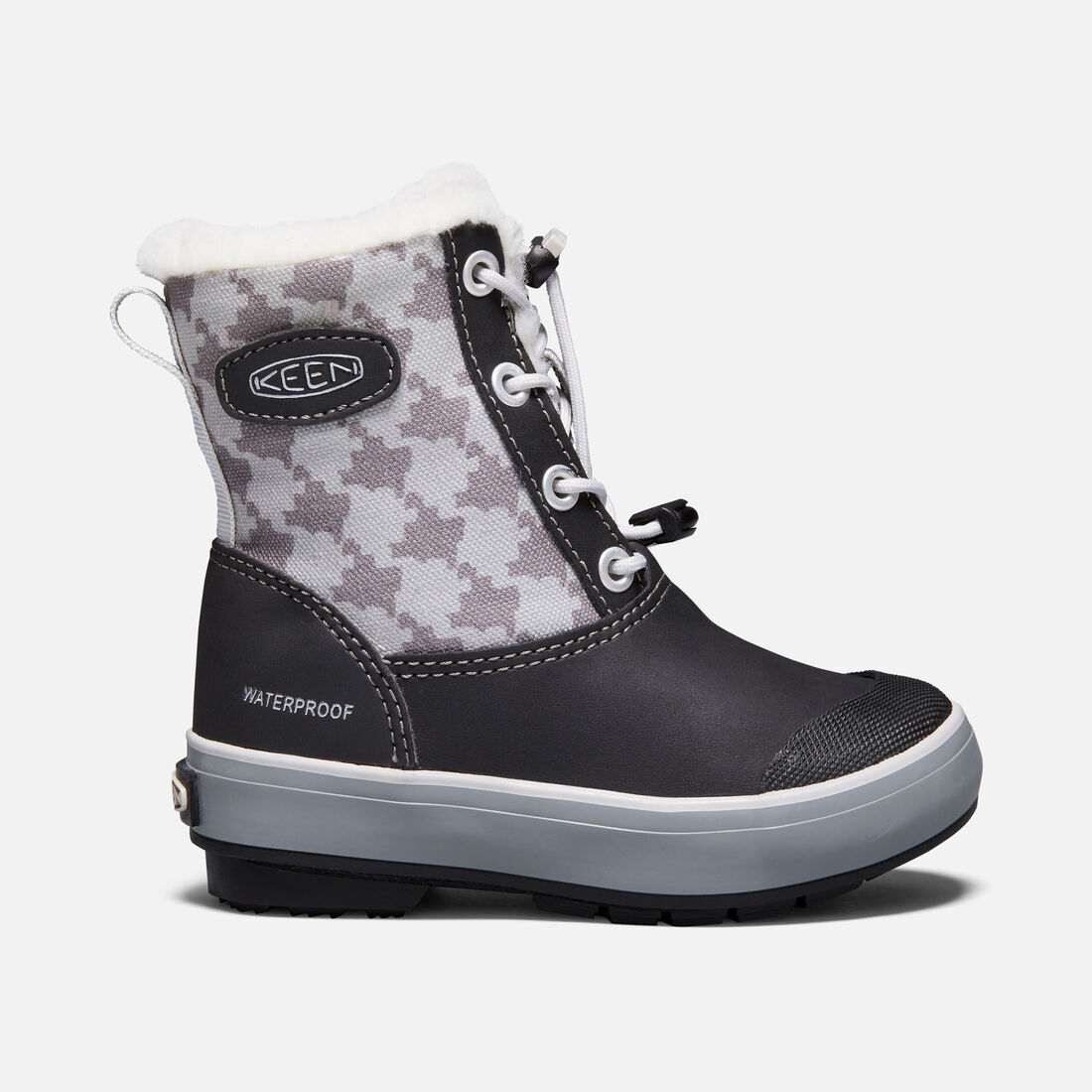 Little Kids' Elsa Boot in Black/Houndstooth - large view.