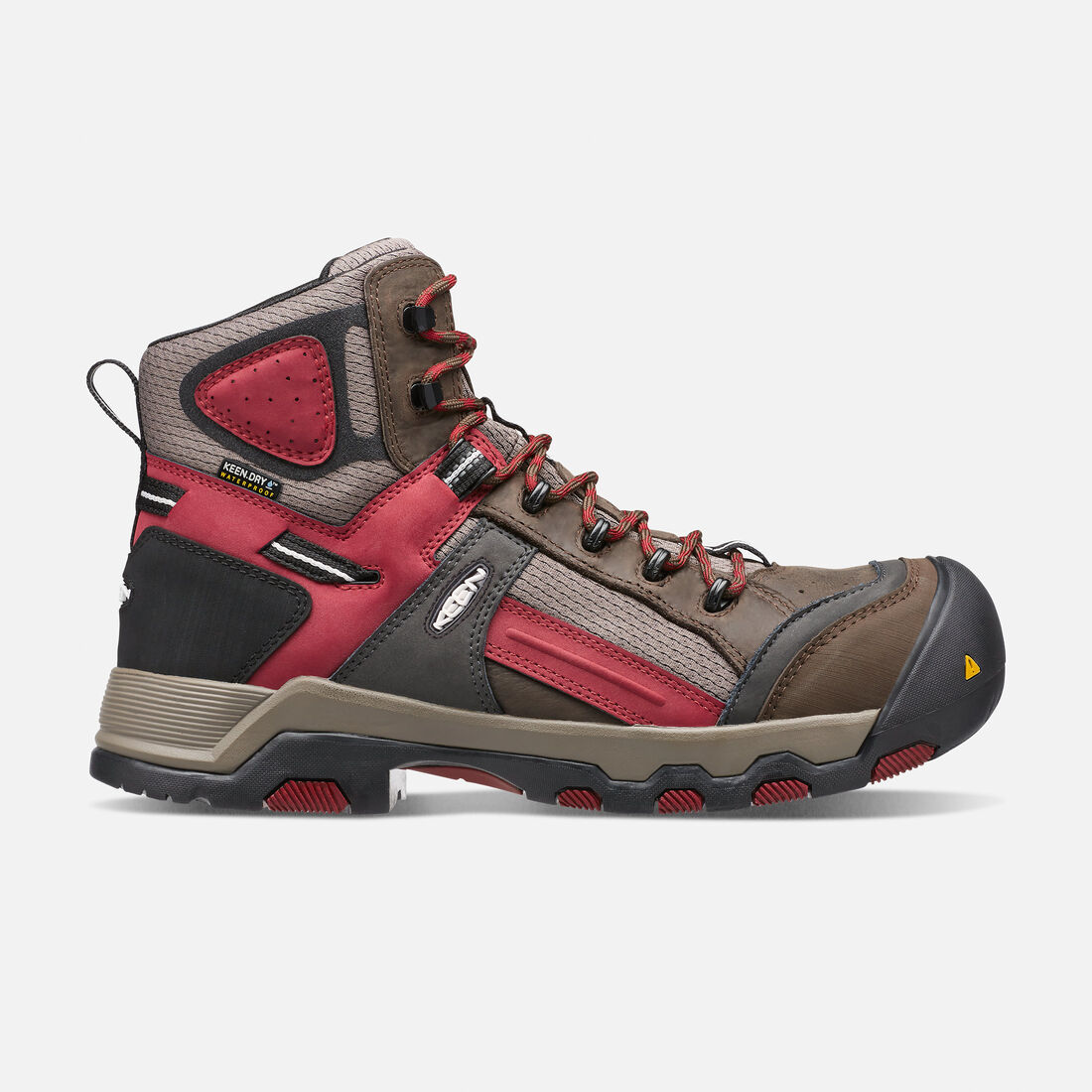 Men's DAVENPORT MID Waterproof (Composite Toe) in Cascade Brown/Red Dahlia - large view.