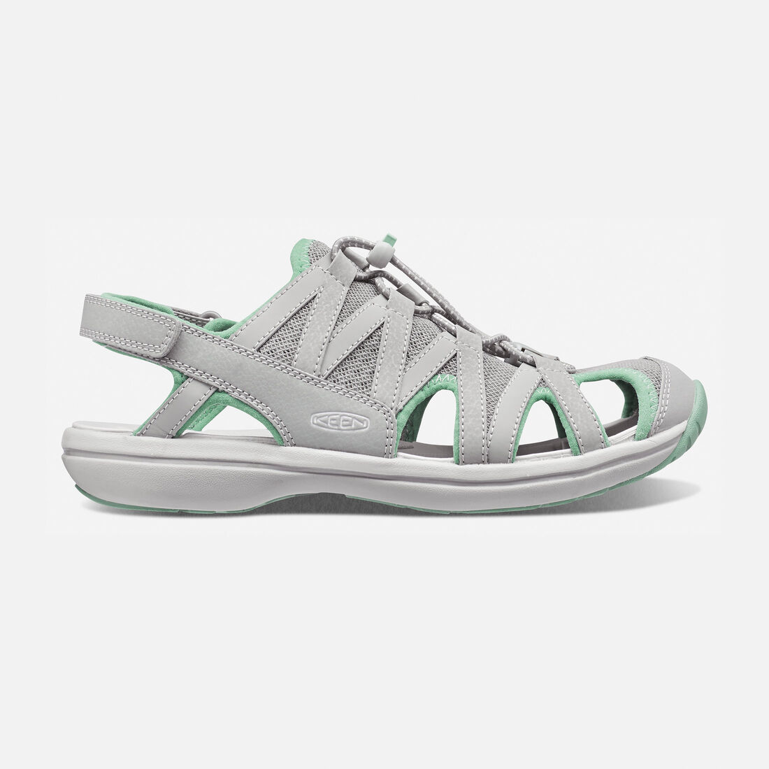 Women's Sage Sandal in Neutral Gray/Malachite - large view.