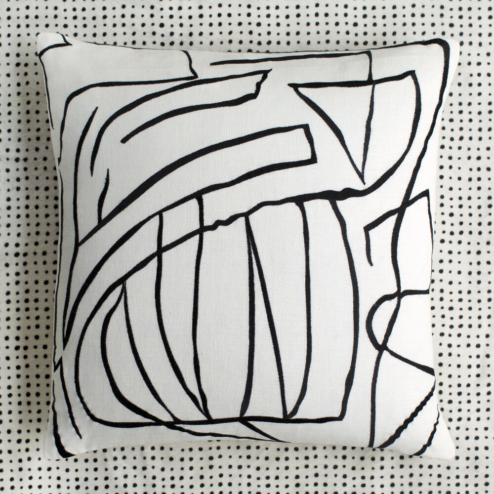 GRAFFITO PILLOW EMBROIDERED - WHITE