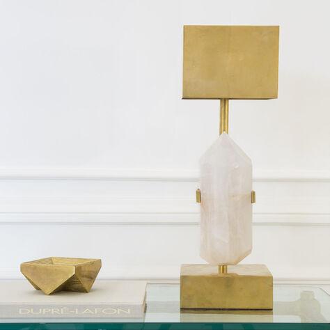 HALCYON DESK LAMP - QUARTZ w/ BRASS