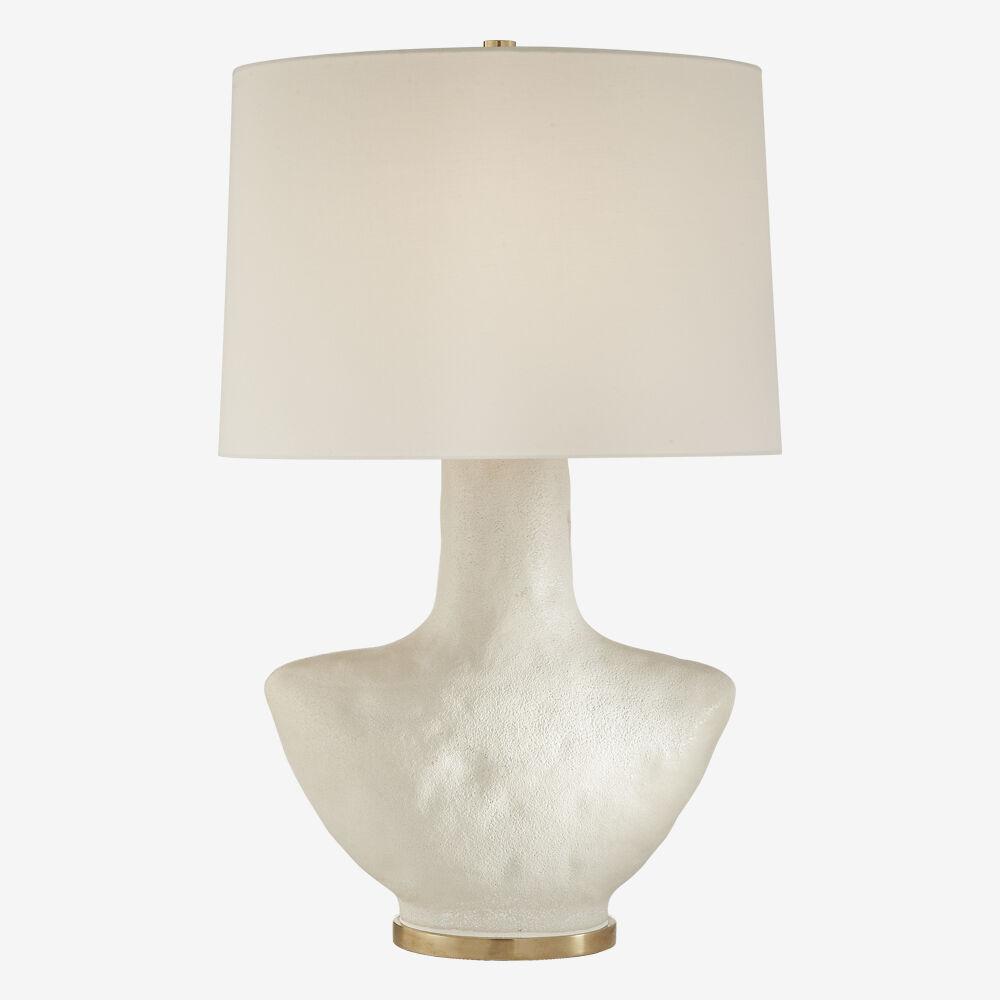 ARMATO TABLE LAMP - POROUS WHITE w/ LINEN