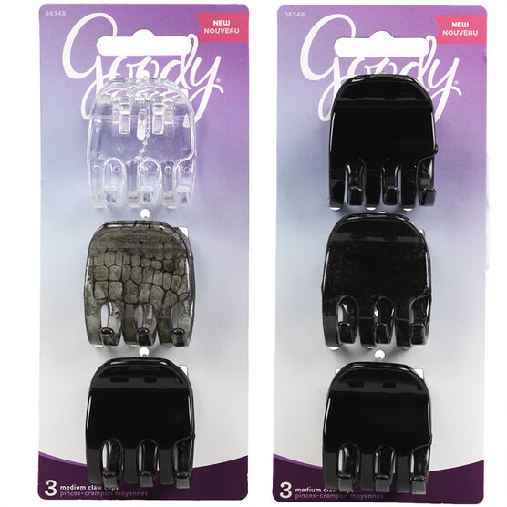 Goody Claw Clips Medium Assorted - 8348 - 3's