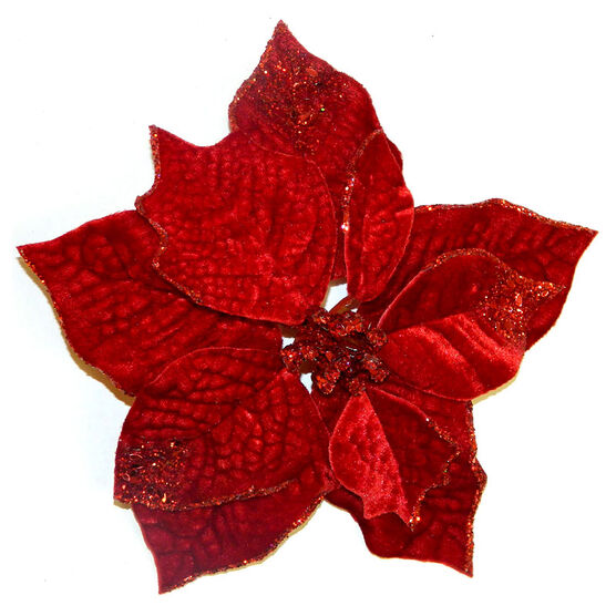 Christmas Forever Poinsettia with Clip - 8.5in - Red - XM-HA2040