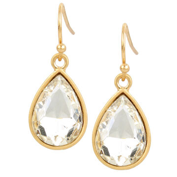 Haskell Crystal Drop Earrings - Clear/Gold