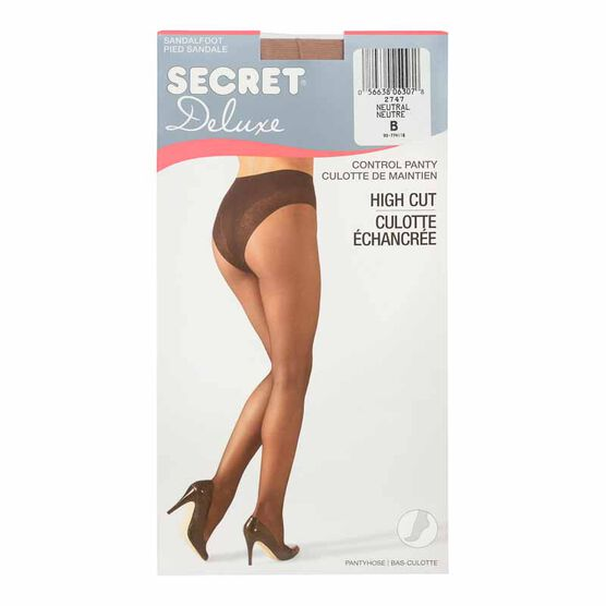 Secret Deluxe High Cut Lace Control Top Panty Hose - B - Neutral