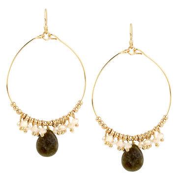 Haskell Beaded Hoop Earrings - Grey/Gold