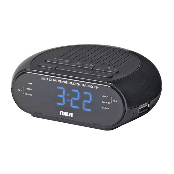 RCA AM/FM USB Clock Radio - Black - RC207