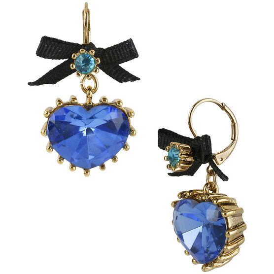 Betsey Johnson Heart Drop Earrings - Teal