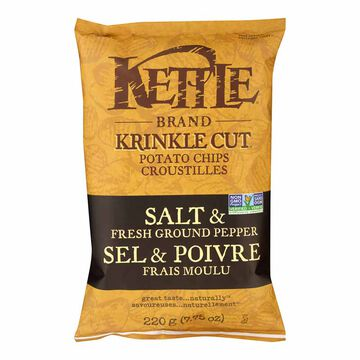 Kettle Brand Potato Chips - Salt and Fresh Ground Pepper - 220g