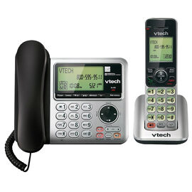 VTech Cordless/Corded Phone with Answering Machine - 1 Handset - Silver - CS6649