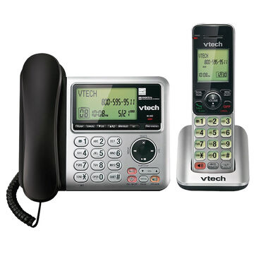 VTech CS Series Cordless/Corded Phone with Answering Machine - 1 Handset - Silver - CS6649