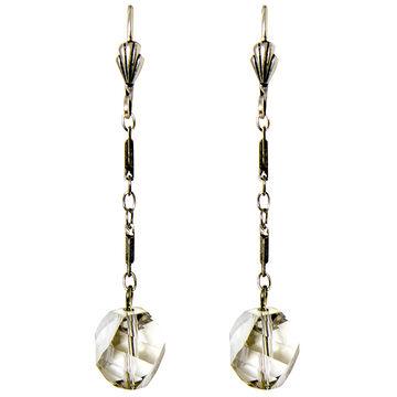 Anne Koplik Silver Chain with Crystal Silver Shadow Bead Earrings