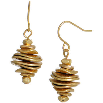 Kenneth Cole Stacked Disc Drop Earrings - Gold Tone