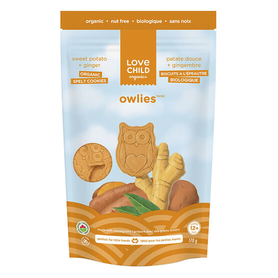 Love Child Owlies Organic Spelt Cookies - Sweet Potato + Ginger - 170g