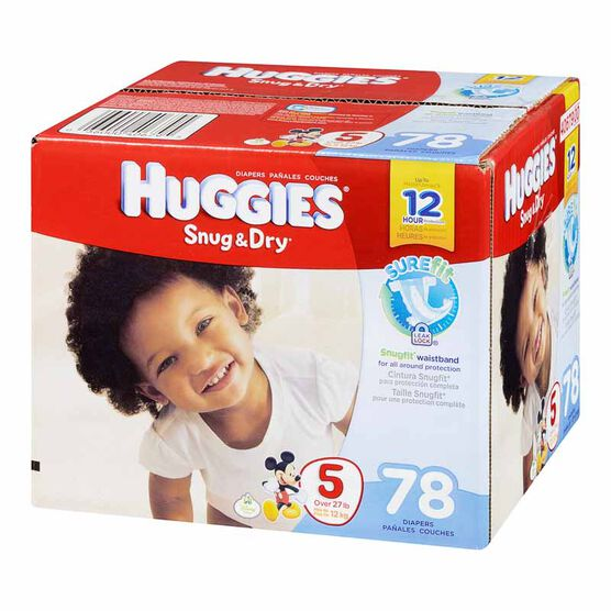 Huggies Snug & Dry Disposable Diaper - Size 5 - 78's
