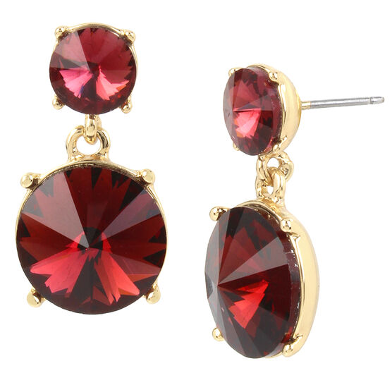 Kenneth Cole Drop Earrings - Burgundy/Gold