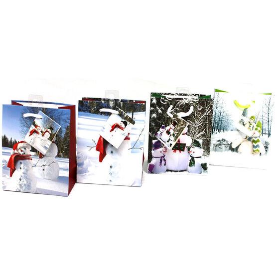Christmas Snowman Gift Bag - Assorted -Small