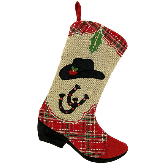 Christmas Forever Stocking - Plaid Boot