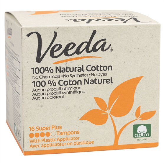 Veeda 100% Natural Cotton Tampons - Super Plus - 16's
