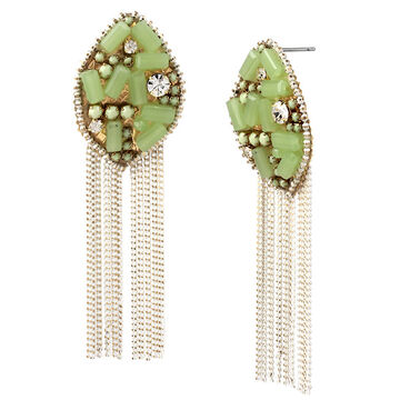 Haskell Bead Hanging Chain Earrings - Multi/Gold