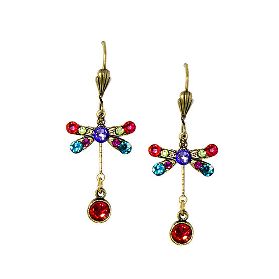Anne Koplik Small Indian Pink Multi-Coloured Dragonfly Earrings