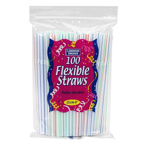 London Drugs 8-inch Flexible Straws - 100's