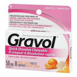 Gravol Chewable 50mg Tablets - Orange - 8's