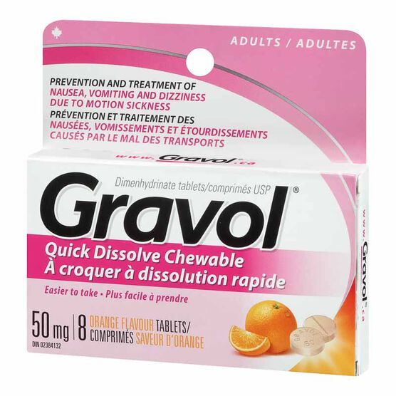 Gravol Chewable 50mg Tablets - Orange - 8's