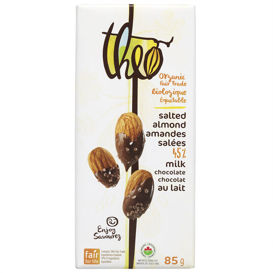 Theo Organic Chocolate Bar - Salted Almonds 45% Milk - 85g