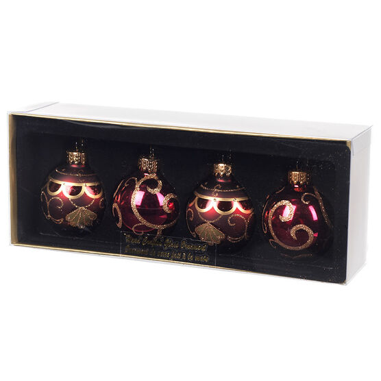 Winter Wishes Glass Ball Ornaments - Set of 4 - XLD2016-36UFOB