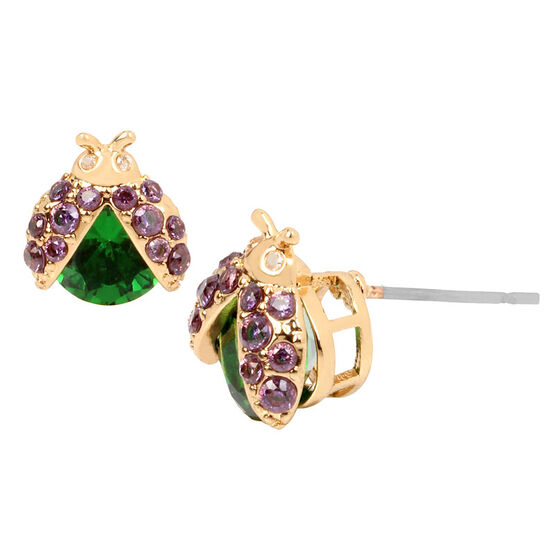 Betsey Johnson Lady Bug Stud Earrings - Green/Gold