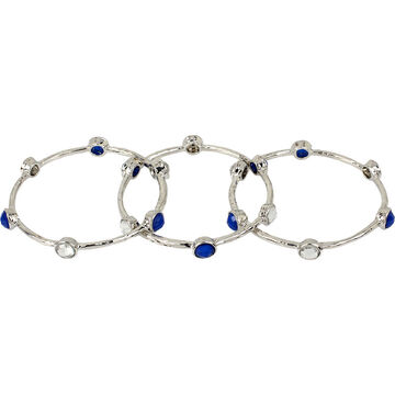 Haskell Three Piece Bangle Set - Multi/Rhodium