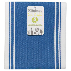 Kitchen Style Stripe Teatowel - Blue - 2 pack