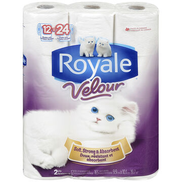 Royale Velour Bathroom Tissue - 12's/Double