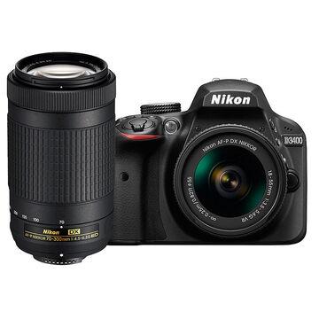 Nikon D3400 with AF-P DX 18-55mm VR and AF-P DX 70-300mm VR Lens - PKG 24667