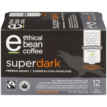 Ethical Bean Coffee - Super Dark - French Roast - 12 Servings