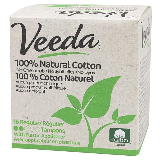 Veeda 100% Natural Cotton Tampons - Regular - 16's