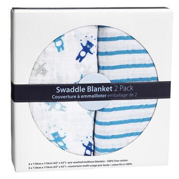 London Drugs Swaddle Blankets -Bears/Stripes - 2 pack