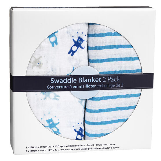 London Drugs Swaddle Blankets - Bears/Stripes - 2 pack
