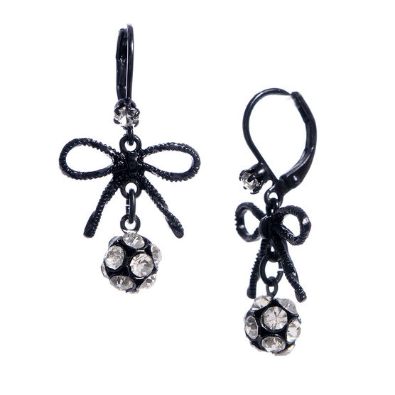 Betsey Johnson Crystal Ball Drop Earrings
