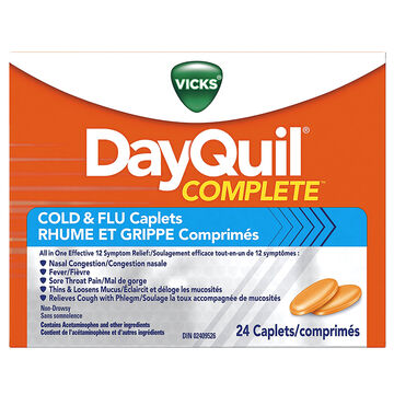 Vicks DayQuil Complete Cold and Flu Caplets - 24's