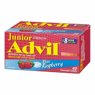 Advil Junior Strength Chewable Tablets - Blue Raspberry - 40's
