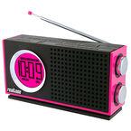 iHome Realtone Retro AM/FM, AC/DC Portable Dual Alarm Clock Radio - RT212P - Pink