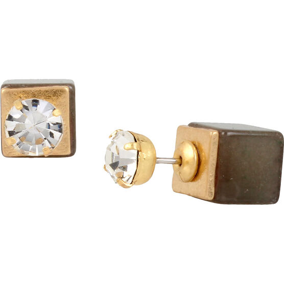 Haskell Front Back Cube Earrings - Grey/Gold